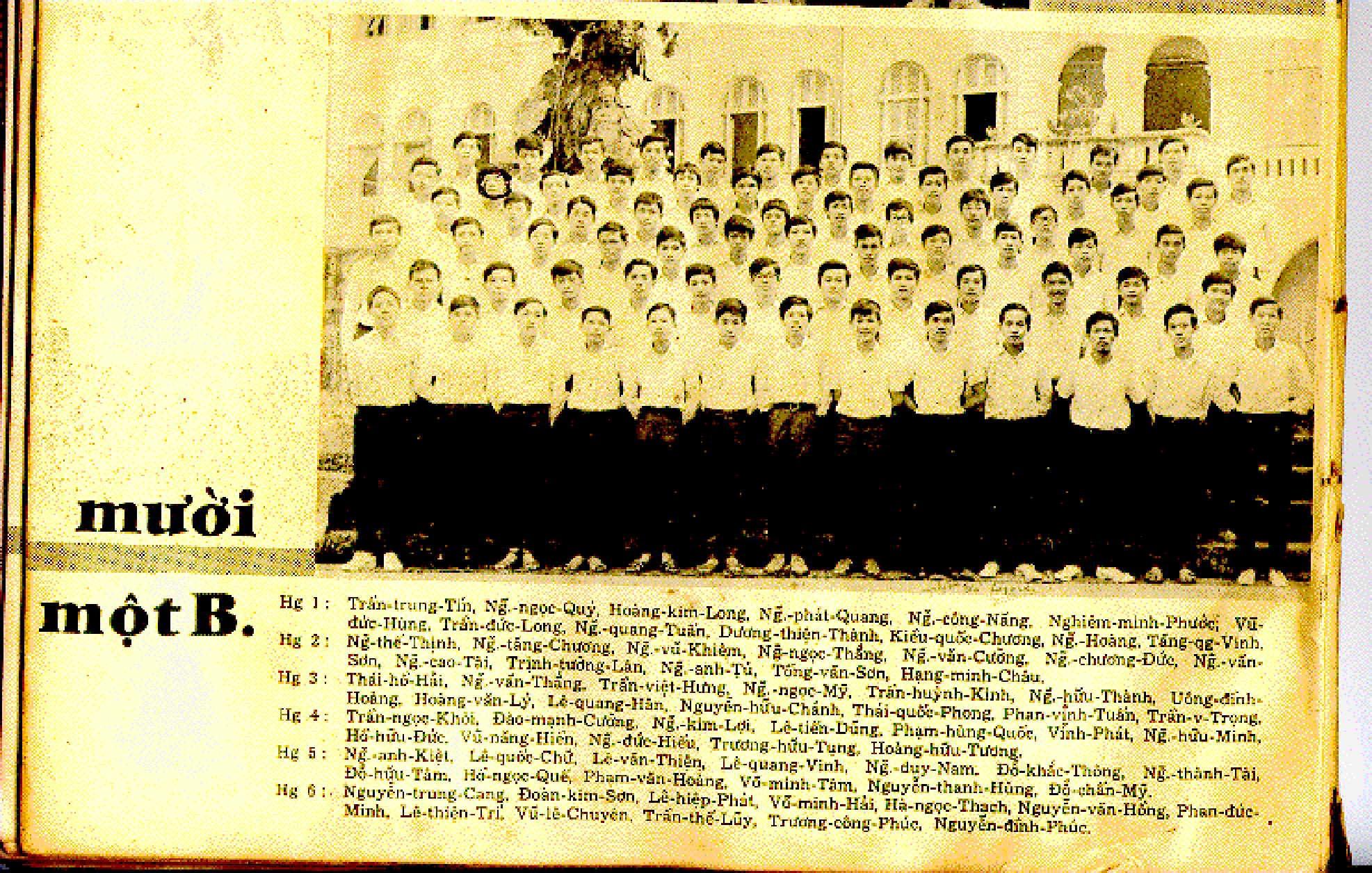 Class 11B - Year 1970
